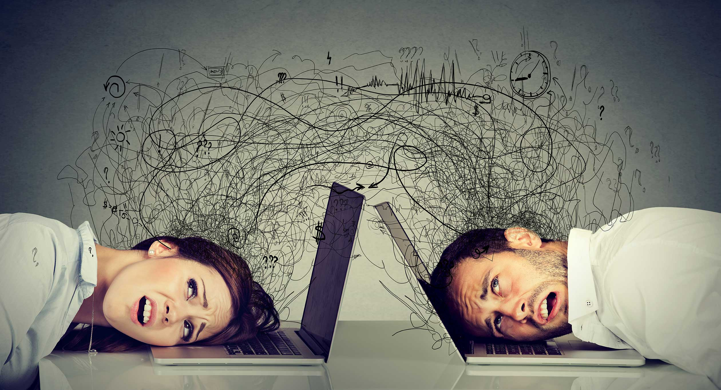 作業効率や判断力を低下させるストレス脳